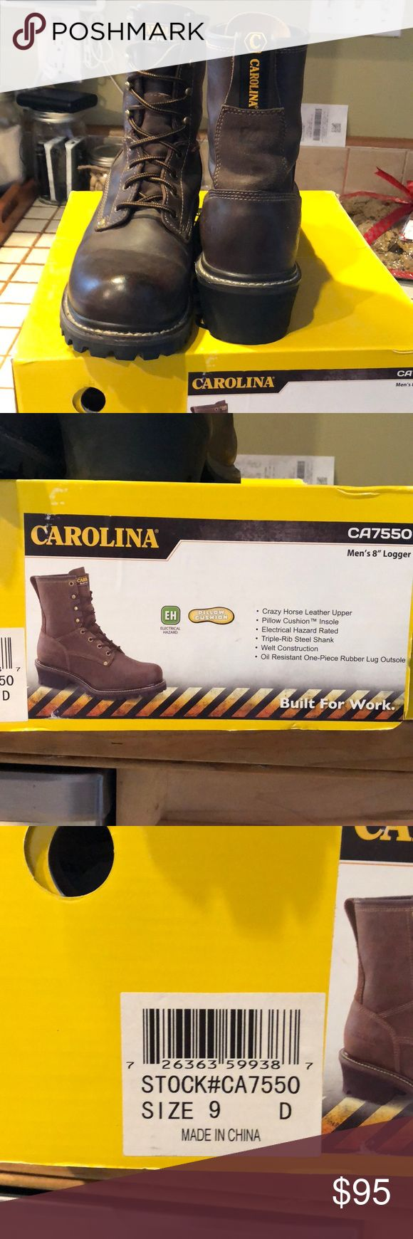"""Like new Carolina men's 8""""Logger boots Like new men's size 9 Carolina 8"""" Logger boots. Only worn three times. With original box. Great for Christmas gift 🎁 I am open to offers. Carolina Shoes Boots"""