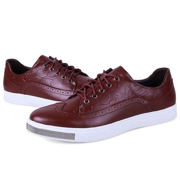 Homens de couro vintage retro padrão de rendas até casuais confortáveis sapatos brogue ao ar livre