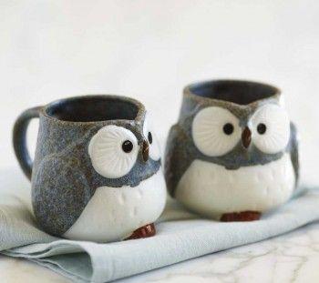 How adorable!Tea Sets, Little Owls, Owls Mugs, Coffe Cups, Ceramics Mugs, Teas Sets, Things, Products, Coffee Mugs