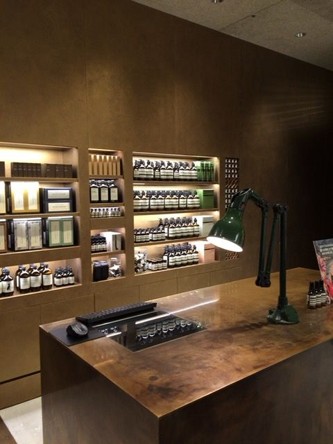 It's used 2 kinds of liquid gold color. Aesop in Fukuoka