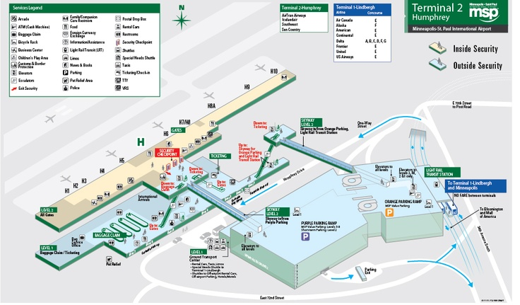 Map Of Terminal 2 Humphrey At Minneapolis St Paul Airport