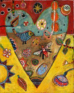 "Jill Mayberg Archival Print, ""Heart Bee"" 16"" X 20"", $50.00"