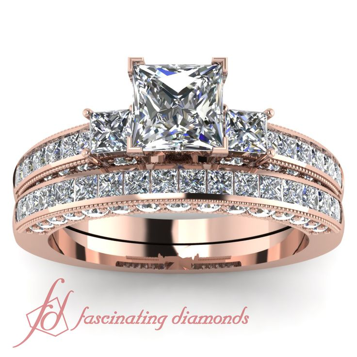 Princess Cut & Round Diamonds 14K Rose Gold Wedding Ring Set in Channel & Pave Setting