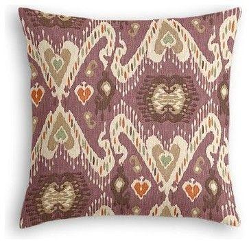Purple, Taupe & Orange Ikat Custom Euro Sham eclectic-pillowcases-and-shams