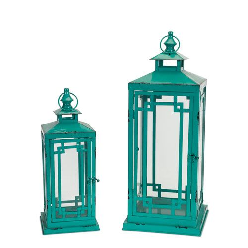 Teal Lanterns, Set of Two