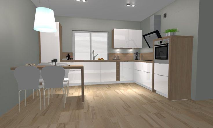 biała kuchnia , drewno