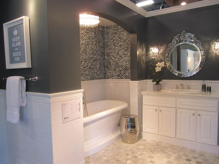 Bathrooms Tile From The Alcove Tub Bathtub Ceramic White Subway With Gl Mosaic Marble Hex Floor