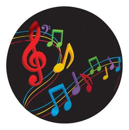 Dancing Music Notes Dessert Plates (8) : Get in the mood to move and groove with the Dancing Music Notes Luncheon Plates.  Brightly coloured red, yellow, green, blue and purple musical notes seem to swirl and twirl right off the black background!  The plates are sized for smaller portions, such as hors d'oeuvres and desserts.