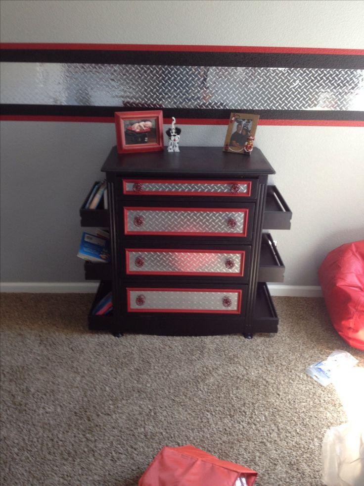 Kids firefighter room and dresser