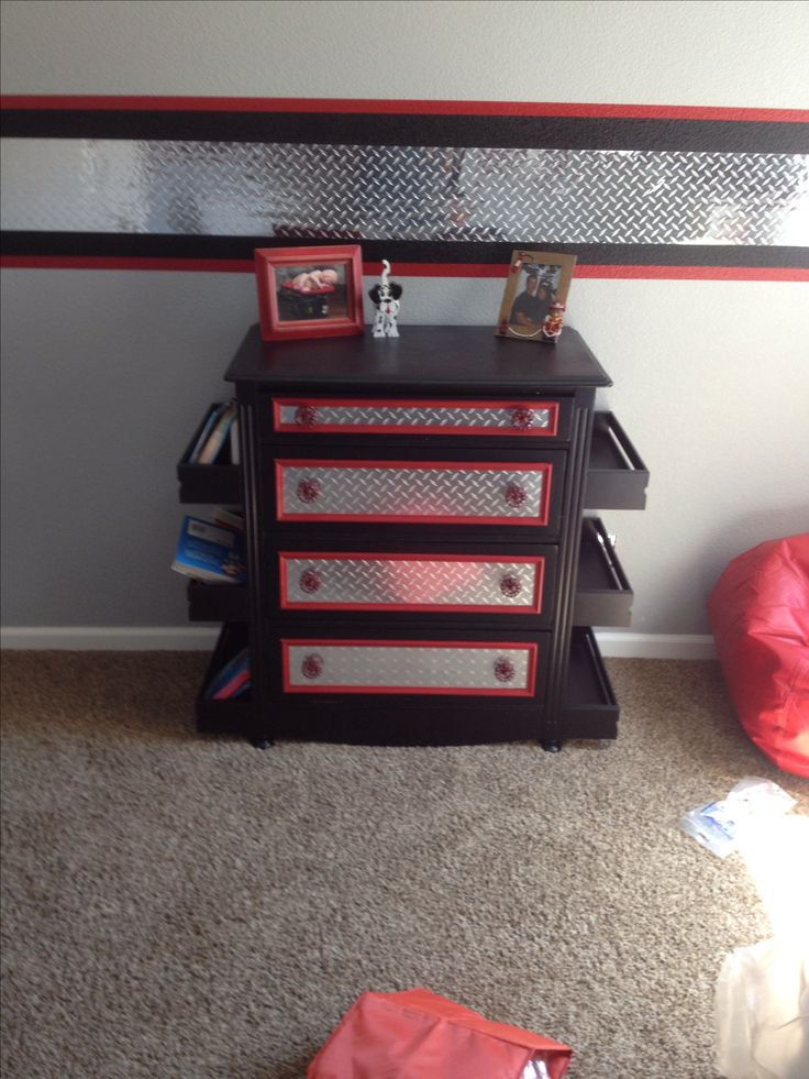 Kids firefighter room and dresser