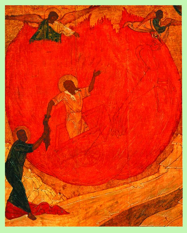 Средник XVI в. Огненное восхождение Ильи Пророка с житием