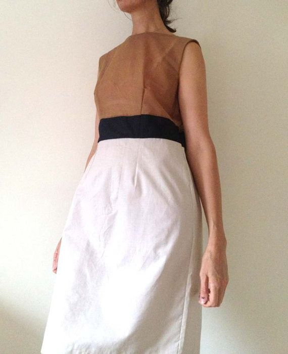 Handmade dress in natural Fabrics panelled in Muslin by AntAtHome, $39.00
