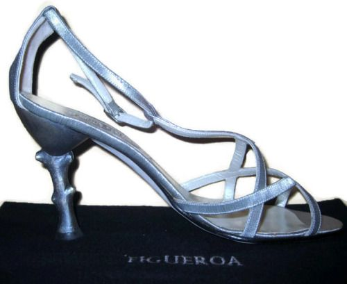 Sexy Woman Couture Shoe Silver Heels Strappy Sandals ITALY...