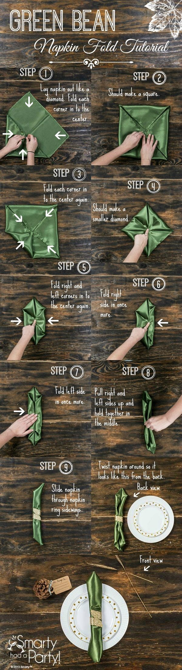 Learn how to fold this napkin with the Green Bean Napkin Fold Tutorial #SmartyHadAParty