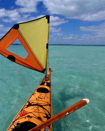 SEA KAYAK SAIL by Damiano Visocnik © 2008 My first sea kayak (used) came with a sail. I loved the thing. My background is windsurfing ther...