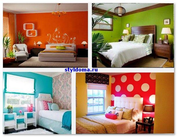яркое оформление стен спальни