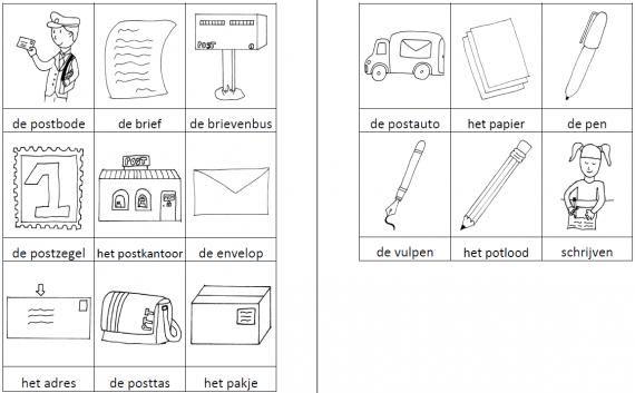 Dit woordweb in het thema postbode kun je downloaden op de website van Juf Milou.