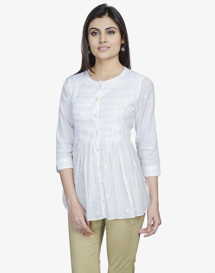 Fabindia.com | Cotton Pintuck Sequin Chikankari Short Kurta