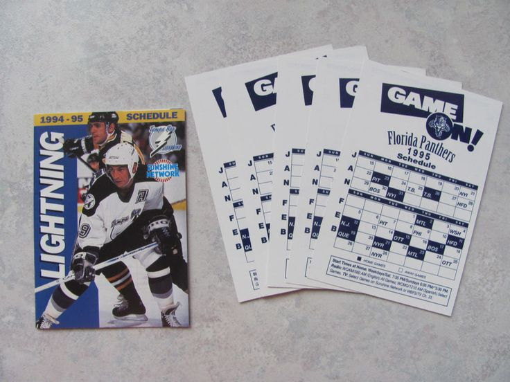 TAMPA BAY LIGHTNING - FLORIDA PANTHERS Hockey Reg Season Schedules (1994-1995)  #FloridaPanthers