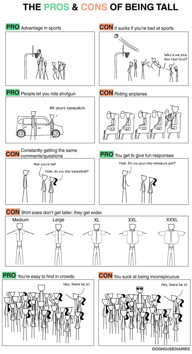 Pros and Cons of being tall - So funny, and SO TRUE.