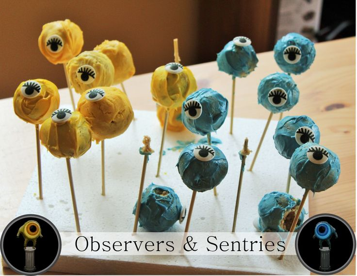 Dota 2 Observer wards and Sentry wards from cake pops! Great for a The International party or a geek party.