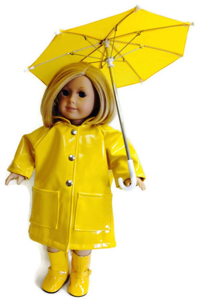 Yellow Rain Coat, Boots, & Umbrella made for 18 inch American Girl Doll Clothes  #Unbranded #DollClothes