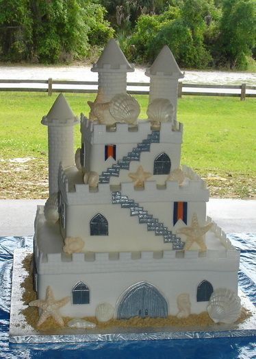 How to make a sand castle cake.   I think the bigger question is how to you bring yourself to eat it.