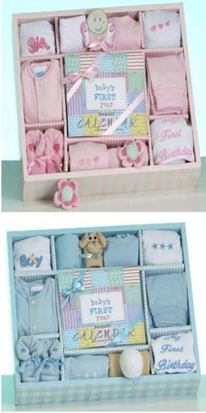 Baby's 1st year - gift box includes a calendar with stickers, hat, burp cloth, washcloths, finger puppet, creeper, diaper cover, cardigan, pants, booties, and polo shirt!