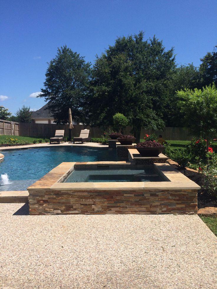 Stacked stone raised spa