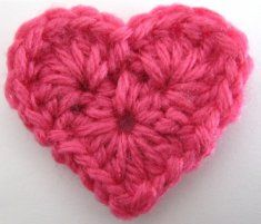 What a pretty little crochet heart!  Free Pattern:Heart  Rnd 1: (Right Side) Ch 4, join with sl st to first ch to form ring; ch 1, [3 hdc in ring, ch 2] 4 times; join with sl st to first hdc. (12 hdc and 4 ch-2 sps)  Row 2: [(Dc, 5 htr, dc) in center hdc of next 3-hdc group, sl st in next ch-2 sp] twice. Finish off and weave in ends.