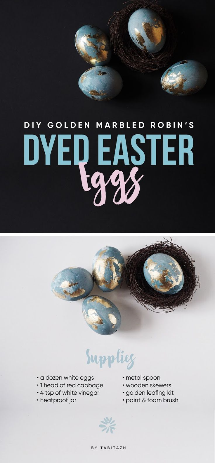 DIY trendy golden marbled robin's dyed Easter eggs