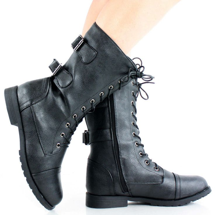Simple Z43 New Womens Black Military Combat Boots Sizes 38 Uk  Black  My1s