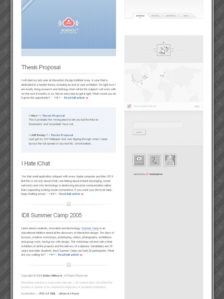 Nundroo website in 2005