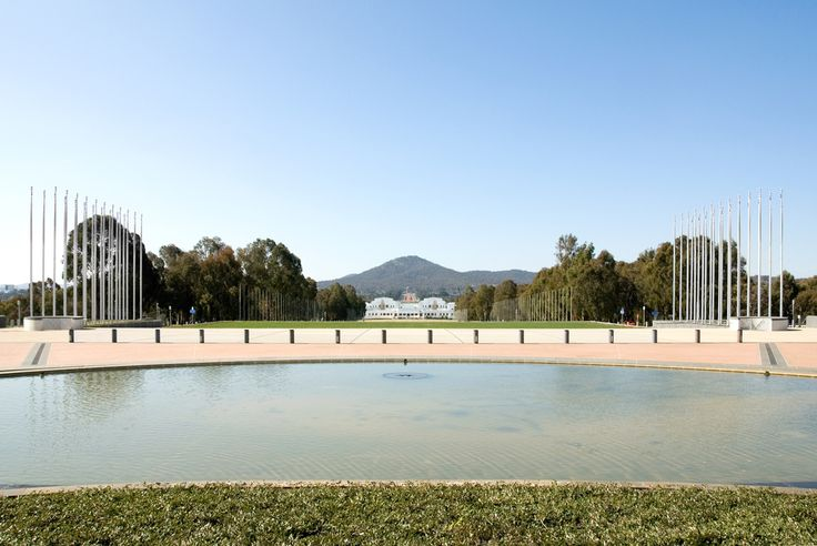 The view of Old Parliament House, the National War Memorial, and Mt Ainslie, from the front courtyard of Parliament House, Canberra, Australia www.spinecentre.com.au