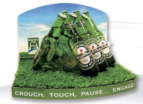 Rugby scrum Counter Display Unit to promote heinekin cup complete with faux grass. Crouch, Touch, Pause ... Engage!  *** Design, print and build by The Printed Image in Ireland. ***
