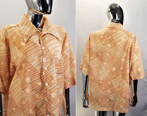 70s Men's Button Down Big Collared Shirt. Studio One Wild