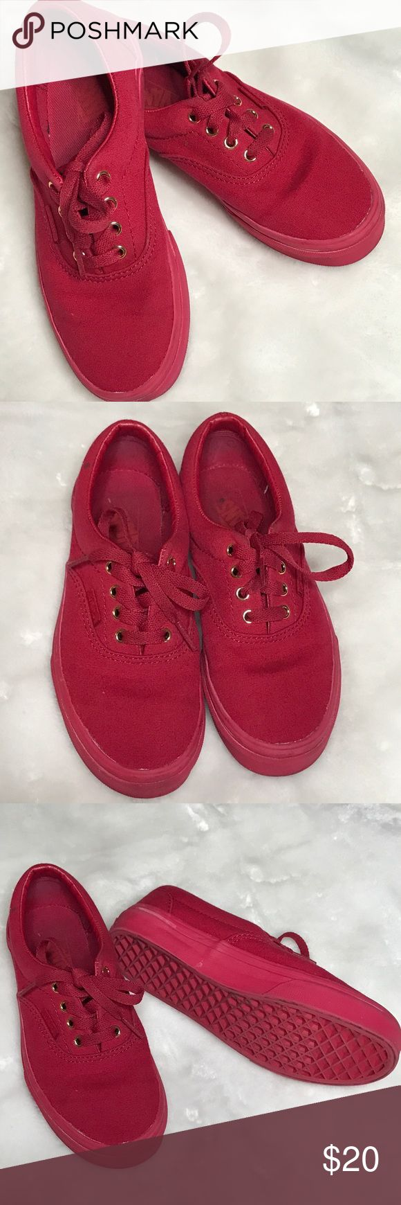 VANS KIDS RED SNEAKERS MONO AUTHENTIC Size 3.5 - VANS KIDS RED SNEAKERS MONO AUTHENTIC. Slightly used. EXCELLENT CONDITION Vans Shoes Sneakers