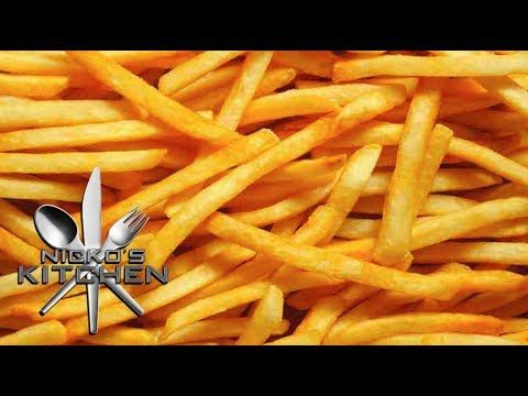 McDONALDS FRENCH FRIES - VIDEO RECIPE - YouTube  3 large potatoes  1/4 cup sugar 1 tbsp corn syrup 1 tsp salt  Water  Oil