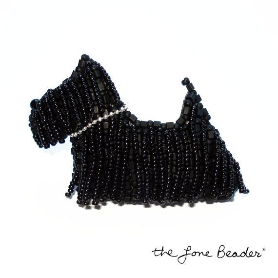 Sooo cute!! SCOTTIE DOG beaded pin/ pendant by thelonebeader on etsy.