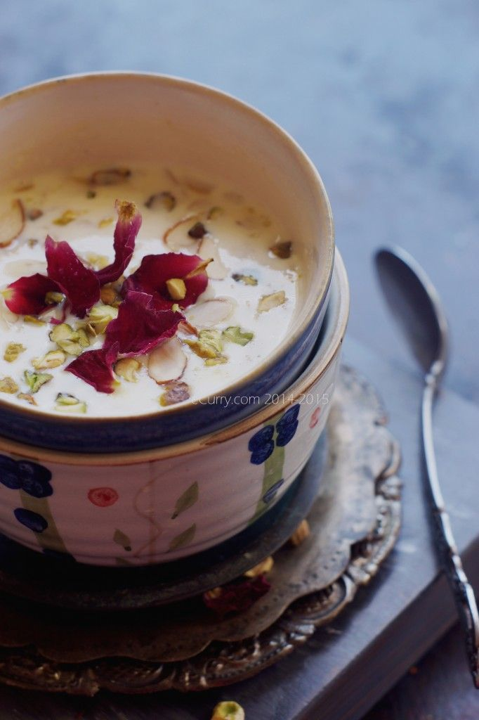 Phirni: Ground Rice Pudding with Saffron and Nuts