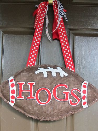 "Need to make one that says ""DAWGS"" for LaTech Football season // Hogs burlap football door hanger"