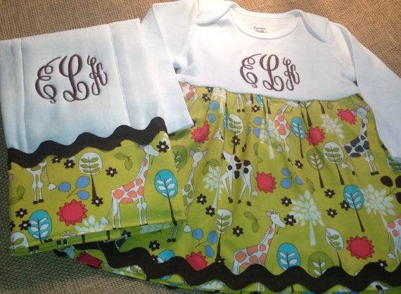 Etsy: monogrammed onesies dress and matching burp cloth by ChirpyChicky, $35.00