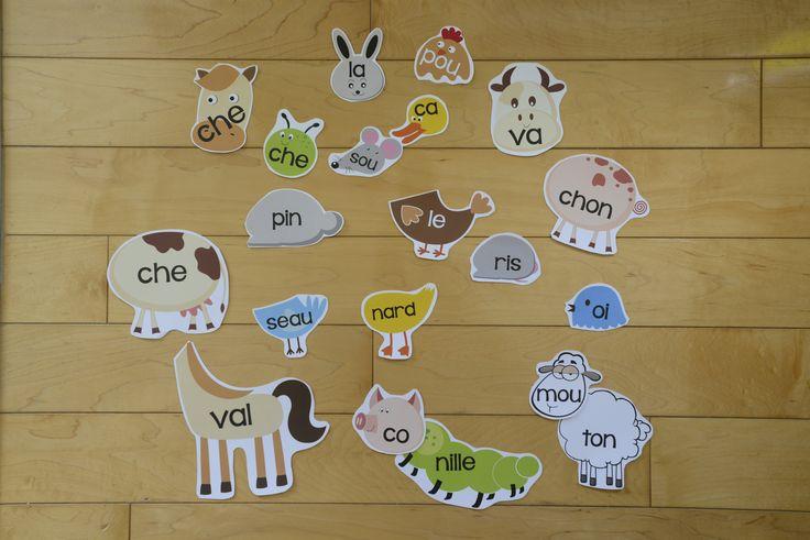 Ani-mots réels et farfelus (6-7 ans) : L'élève associe des syllabes présentées sur des illustrations de parties d'animaux, afin de reconstruire et lire des mots. L'élève assemble donc les têtes et les corps d'animaux. Par la suite, l'élève crée des nouveaux animaux farfelus et, par le fait même des mots farfelus, en mélangeant les syllabes, soit les têtes et les corps des animaux.