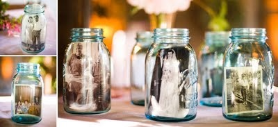 so many great uses for mason jars at weddings - I love the idea of putting pictures in them