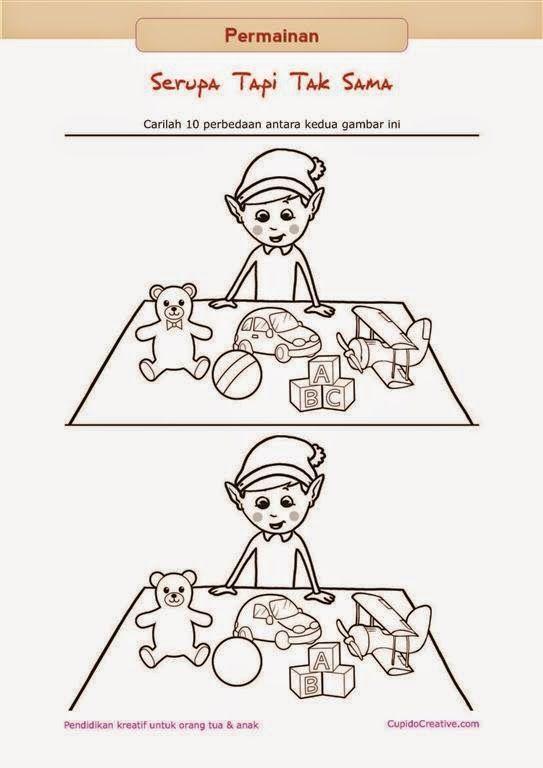 permainan gambar serupa tapi tak sama untuk melatih ketelitian anak SD/TK, gambar elf