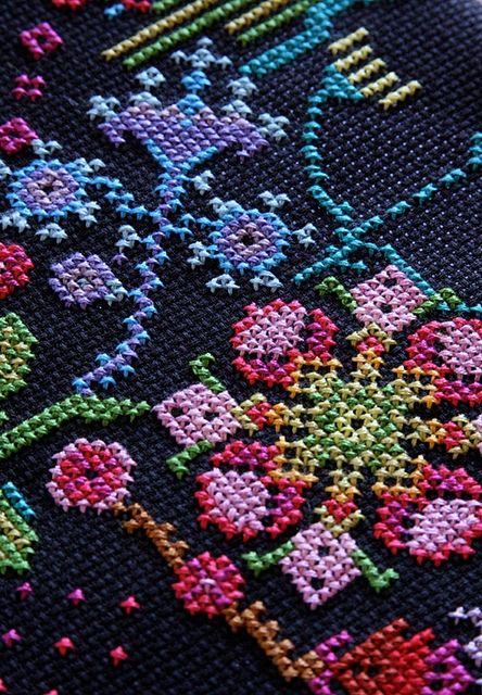 Love cross stitch on black aida cloth: menagerie.at.midnight by annamariahorner, via Flickr