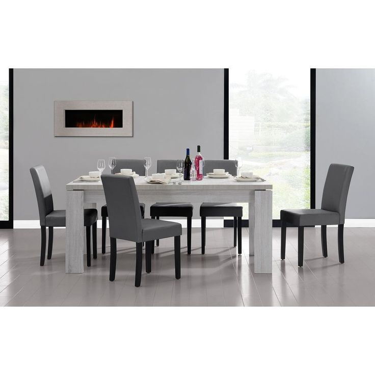 Grey Table with 6 Chairs Dining White Dark 180x95x77 cm Oak Veneer Faux Leather