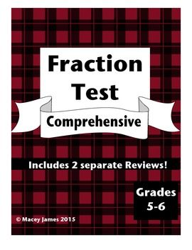 Fraction Test and Review: This fully editable fraction test along with the reviews cover all operations on fractions. It is a comprehensive test used to determine mastery in all aspects of fractions. The test was designed to be completed within one class period.$