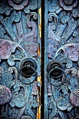Carved doors, Madura, East Java. An extremely subtle palette, suitable for nurseries. Not all babies have to be surrounded by primary colors!