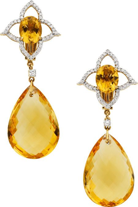 Citrine, Diamond, Gold Earrings, Piranesi. .